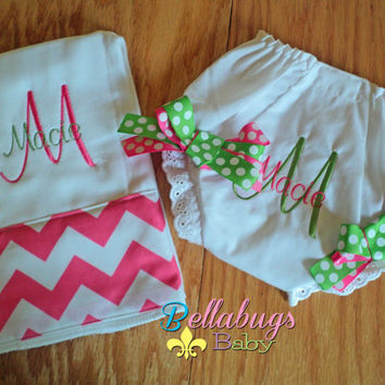 Lime Green and Pink Chevron Personalized Diaper Cover Bloomers with Burp Cloth...Sizes 0-6, 6-12, 12-18, 18-24 Months, 3T, 4T