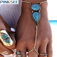 Ethnic Boho Style Blue Stone Hand Chains For Women Slave Bracelets Harness Pulseiras Mujer Tribal Turkish Jewelry Gift