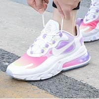 Nike Air Max 270 React New fashion hook print running shoes women White