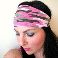 Pink Camo bandana headband, tshirt headband, camouflage workout headwrap with neon pink elastic back