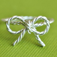 TINY BOW rope ring - sterling silver twisted wire wrap