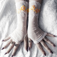Joie Long Lace Arm Warmers - Ivory White Lace Yellow Sunny Orange Ombre Embroidered Floral - Wedding Mori Girl Bridal Summer Spring Forest