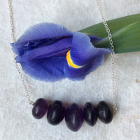 Raw Amethyst Transluscent Purple Classic Necklace
