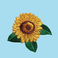 Self Adhesive Full Embroidered Patch Yellow Sunflower Flower Green Leaves Sticker Iron On Motif Applique (sold By Piece) Cf Sunflower