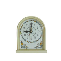 Vintage Alarm Clock 1970s General Electric with Floral Motif and Ivory Color - WORKS