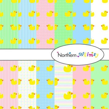 Digital Scrapbooking Paper Background Set – Rubber Duckie pattern on pastel stripes , polka dots , and plain backgrounds INSTANT DOWNLOAD