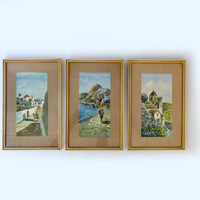 Vintage original 1960s set of three watercolour paintings Greek Islands