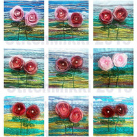 2.25 inch square tiles - digital collage sheet - organza flowers - instant download