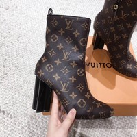 LV Louis Vuitton Women Fashion Leather Zipper brown High Top Mid Boots with strings Shoes Winter Autumn best quality