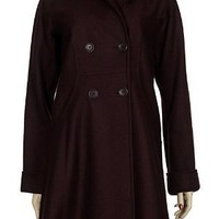 THEORY Manning Wool Coat Large L Double Breasted Buttons Burgundy Beet Elegant