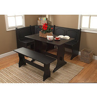 Walmart: Breakfast Nook 3 Piece Corner Dining Set, Black