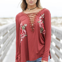 Rising Sun Brick & Rose Floral Top