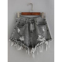 Raw Hem Denim Shorts Grey