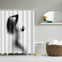 Portrait Decor Bathroom Shower Curtains Woman Shadow Shower Curtain Waterproo Polyester Fabric Custom Bathroom Curtain Hooks New