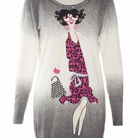 MapleClan Women's Printed Pullover Long Knit Top Miss Puff