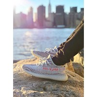 Yeezy Boost  Adidas  350 V2 Popular Unisex Leisure Sport Running Shoe Sneakers Grey White(Red Letter) I