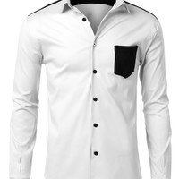 LE3NO Mens Slim Fit Color Block Casual Button Down Shirt