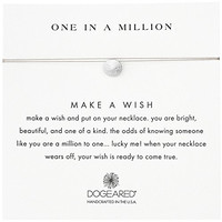 """Dogeared Sterling Silver Make A Wish One In A Million Sand Dollar Taupe Necklace, 16"""""""