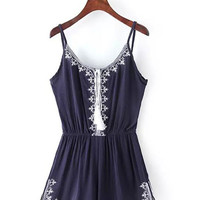 Spaghetti Strap Embroidery Detail Romper in Navy Blue or White