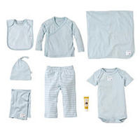 Burt's Bees Baby Boys Organic 9 Piece Light Blue Striped Take Me Home Basket Set