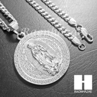 316L Stainless steel Silver Bling Guadalupe w/ 5mm Cuban Chain SG4