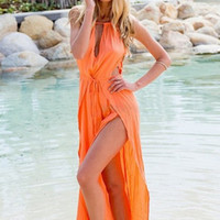 Plain Halter Neck Slit Beach Dress