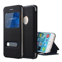 iVAPO New Iphone 6 Case 4.7 Leather Flip Cover Case Double Open Window Design Smart Visible Window Ultra Slim with [Stand] Function for Iphone 6 4.7 Inch (MM548) (Black)