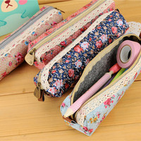 High Quality Mini Retro Flower Floral Lace Pencil Case,pencil bag school supplies Cosmetic Makeup Bag Zipper Pouch Purse