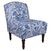 Clark Slipper Chair, Blue Damask, Accent & Occasional Chairs