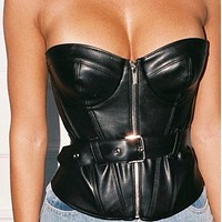 Women's clothing is hot with zipper slim leather bodice