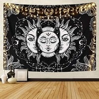 White Black Sun Moon Mandala Tapestry Wall Hanging Celestial Wall Tapestry Hippie Wall Carpets Dorm Decor Psychedelic Tapestry