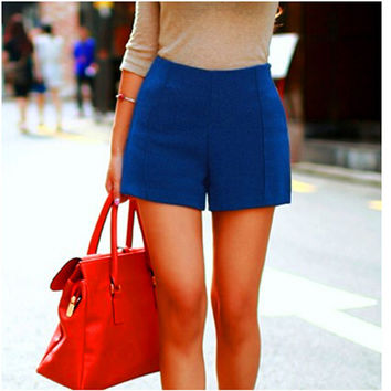 Candy Colors Fashion High-Waist Wool Shorts Women's Winter Boots Shorts Casual Wear Plus Size DK-026