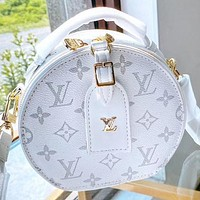 Hipgirls LV New fashion monogram print leather shoulder bag crossbody bag handbag White