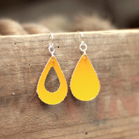 Yellow Asymmetrical Earrings, Tear Drop, Boho Faux Vegan Leather Sterling Silver Jewelry, Minimalistic Dangle Earrings, Women's Jewelry