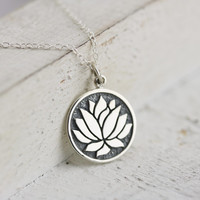 Lotus Necklace - Sterling Silver Etched Lotus Flower Necklace - Elegant Lotus Flower Pendant - Yoga Jewelry - Lotus Jewelry -Flower Necklace