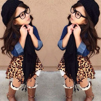 Girls 3 PC Outfit Denim Jacket Leopard Skirt and Scarf