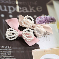 Pearl bowknot hairpins