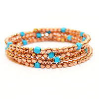 Rose Gold and Turquoise Stacked Memory Wire Bracelet