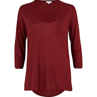 River Island Womens Dark red low scoop neck t-shirt