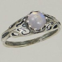 A Beautiful Sterling Silver Filigree Ring Featuring a Lovely Rainbow Moonstone...