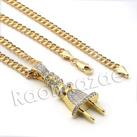 Lab diamond Micro Pave Electric Plug Pendant w/ Miami Cuban Chain BR031