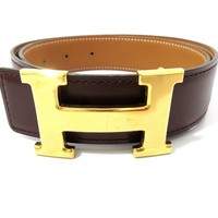 Auth HERMES H Buckle Constance ?Square A Reversible Belt Size 65 Great 55935