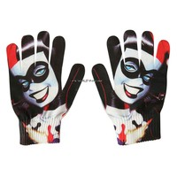 Licensed cool NEW dc  Batman Harley Quinn Face Sublimation Knit Costume Cosplay Gloves