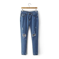 Summer Women's Fashion Ripped Holes Denim Pants [4920275076]