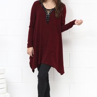 Lace Up Neckline Handkerchief Dress {Burgundy} - Size SMALL
