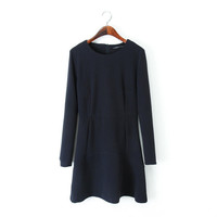 Round-neck Long Sleeve Scarf Dress Skirt One Piece Dress [4917783940]