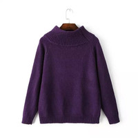Solid Knitted Turtleneck Sweater