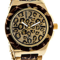 MKL Accessories Watch On Leopard Time in Gold