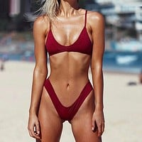 Casual Solid Strap Low Waist Beach Bikini Set Swimsuit Swimwear
