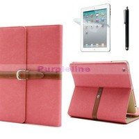 For New iPad 2 3 4 Luxury Button Belt Smart Leather Case Cover W/Stand Pink SS
